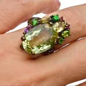 New Green Amethyst Irish knot Ring Size 8.5 Silver